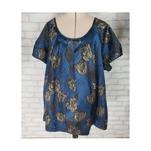 Lane Bryant Pleated Blue Black Floral Career Top